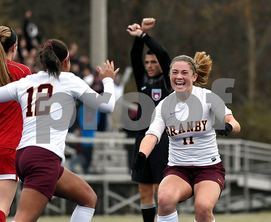 11/18/2017 Mike Orazzi | Staff Granby Memorial's Maria Nolan (11) celebrates the first goal during the Class M Final at Municipal Stadium in Waterbury Saturday. Granby won 3-0.