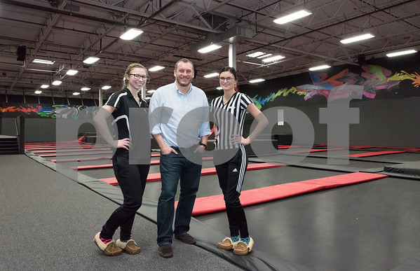 11/20/17 Wesley Bunnell | Staff Court Monitor Victoria Tanguay, Manager Marcus Diggle and Party Coordinator Savanna Costa of Flight Trampoline Park in New Britain.