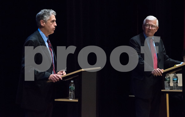 11/2/17 Wesley Bunnell | Staff The Berlin High School Speech and Debate Club hosted a mayoral debate on Thursday night in the school's auditorium. Republican incumbent Mark Kaczynski, L, and Democratic challenger Richard Paskiewicz.