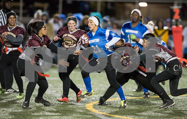 11/22/17 Wesley Bunnell | Staff Southington defeated New Britain in the annual Powder Puff game at Veterans Stadium in New Britain on Wednesday night. Taylor Riddick (21).