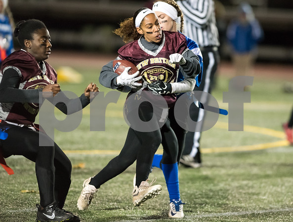 11/22/17 Wesley Bunnell | Staff Southington defeated New Britain in the annual Powder Puff game at Veterans Stadium in New Britain on Wednesday night. Jada Lawson (17).