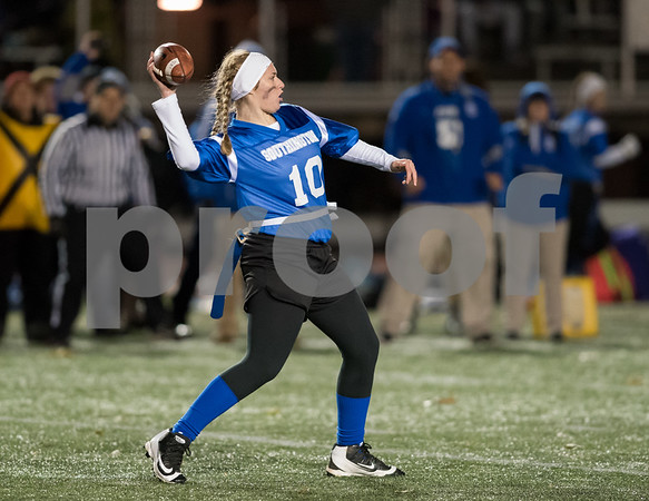 11/22/17 Wesley Bunnell | Staff Southington defeated New Britain in the annual Powder Puff game at Veterans Stadium in New Britain on Wednesday night. Jacqueline Coley (10).