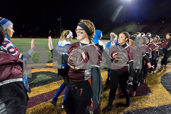 11/22/17 Wesley Bunnell | Staff Southington defeated New Britain in the annual Powder Puff game at Veterans Stadium in New Britain on Wednesday night. Maggie Polkowski (11).
