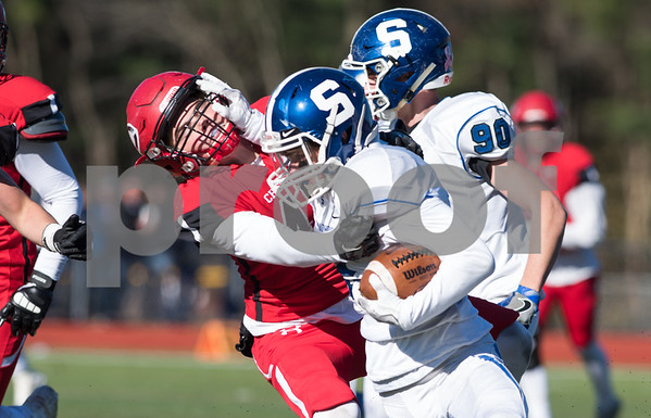 11/23/17 Wesley Bunnell | Staff Southington football topped Cheshire on Thanksgiving morning in the Apple Valley Classic at Cheshire High School. DB Shaun Wagner (2).