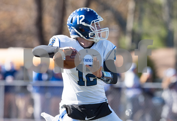 11/23/17 Wesley Bunnell | Staff Southington football topped Cheshire on Thanksgiving morning in the Apple Valley Classic at Cheshire High School. QB William Barmore (12).