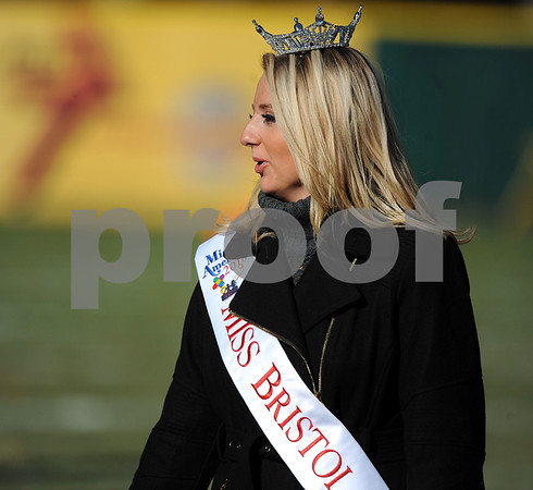 11/23/2017 Mike Orazzi | Staff Miss Bristol 2018 Victoria Lemme during the annual Battle For The Bell at Muzzy Field Thursday.
