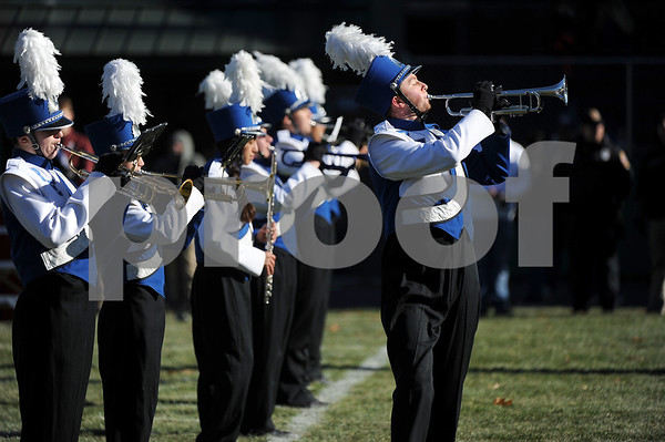 11/23/2017 Mike Orazzi | Staff The Bristol Eastern High School Marching Band during the annual Battle For The Bell at Muzzy Field Thursday.