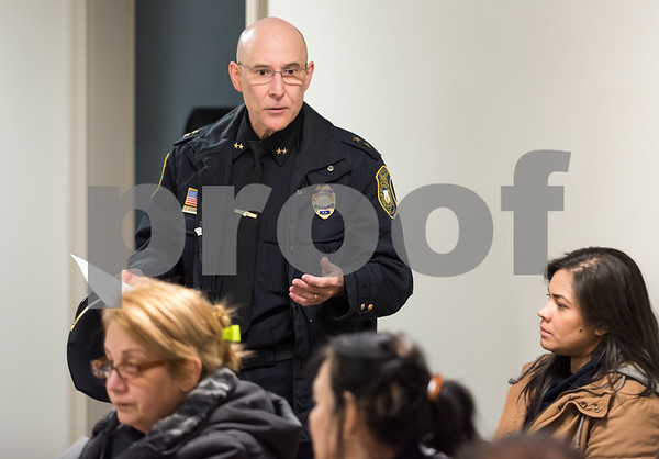 11/27/17 Wesley Bunnell | Staff Police Chief James Wardwell speaks at the North Oak NRZ meeting on Monday evening at the police substation prior to a presentation by State Attorney Brian Preleski regarding the duties of his office and how it impacts residents.