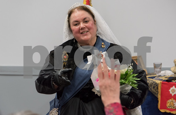 11/8/17 Wesley Bunnell | Staff Set in 1879 Sally Mummey performed as Queen Victoria, Queen of Great Britain and Empress of India at the Berlin-Peck Library on Thursday afternoon. Sally Mummey answers a question from the audience.