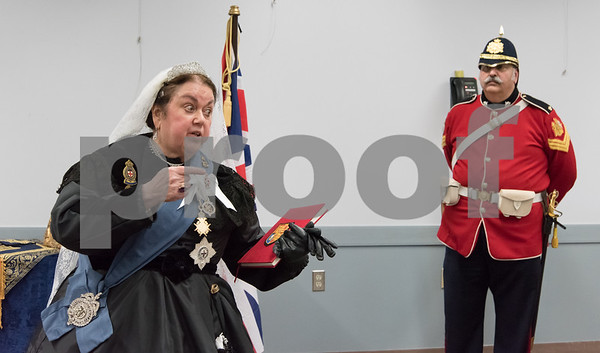11/8/17 Wesley Bunnell | Staff Set in 1879 Sally Mummey performed as Queen Victoria, Queen of Great Britain and Empress of India at the Berlin-Peck Library on Thursday afternoon.