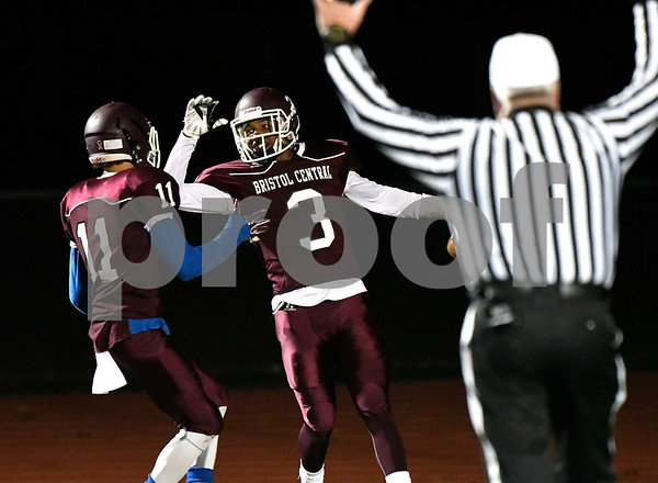 11/9/2017 Mike Orazzi | Staff Bristol Central's Jose Navedo (11) and Dathan Hickey (3) at BC Thursday night.