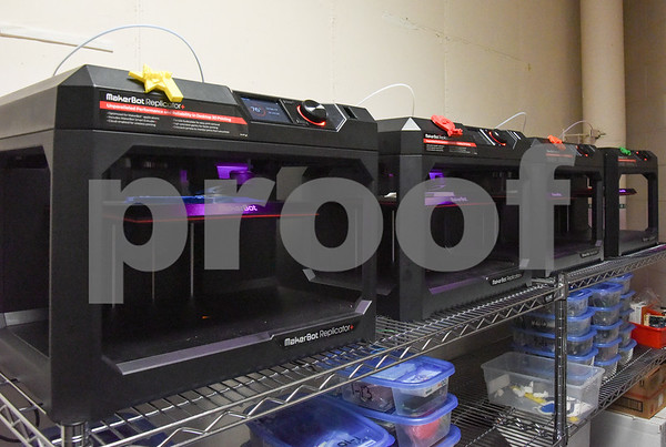10/02/17 Wesley Bunnell   Staff The Middle School of Plainville held a ribbon cutting on Monday afternoon for the new STEAM lab which stands for science, technology, engineering and math. 3D printing machines sit inside the technology room.
