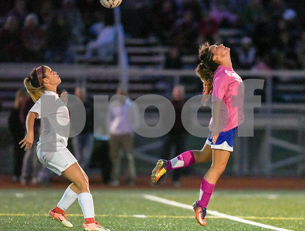 10/02/17 Wesley Bunnell   Staff Bristol Central hosted Bristol Eastern in girls soccer on Monday evening. Bristol Eastern's Jenna Soucy (3) heads the ball.