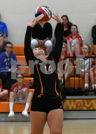 10/11/2017 Mike Orazzi | Staff Terryville's Hailey Marin (14) during Wednesday night's match with Northwestern.