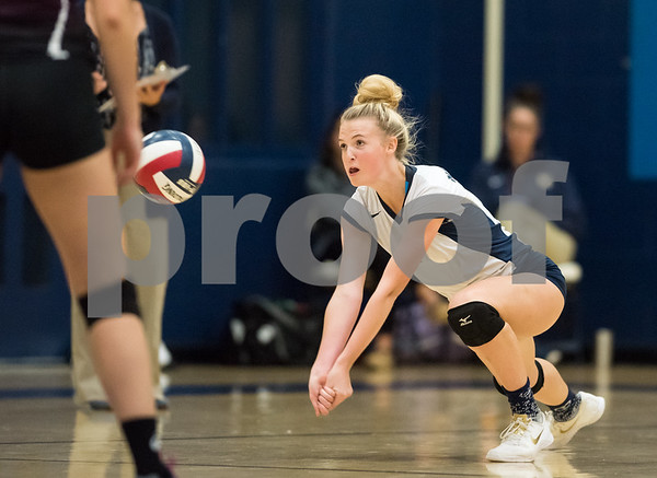 10/12/17 Wesley Bunnell | Staff Bristol Central vs Newington girls volleyball at Newington High School on Thursday evening. Newington senior captain Meghan Roberts (7).