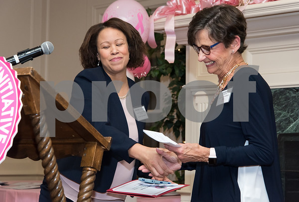 10/12/17 Wesley Bunnell   Staff The CT Breast Health Initiative, Inc. presented research and education awards, recognition of sponsors and volunteers of distinction on Thursday evening at Shuttle Meadow Country Club. Denise Coladonato of the Normal Pfriem Breast Center accepts a community education grant and is congratulated by the grant co-chair Marsha Goldstein.
