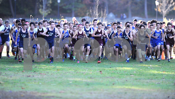 10/12/2017 Mike Orazzi | Staff The start of the boys race during the city cross country meet Thursday afternoon in Rockwell Park.