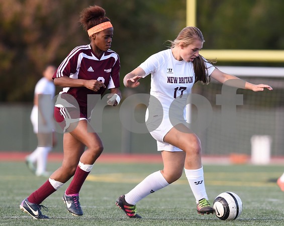 10/13/17 Wesley Bunnell | Staff Bulkeley vs New Britain girls soccer at Veterans' Stadium on Friday afternoon. Stephanie Camacho (17).
