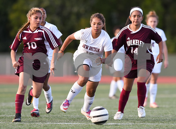 10/13/17 Wesley Bunnell | Staff Bulkeley vs New Britain girls soccer at Veterans' Stadium on Friday afternoon. Marilou Gonzalez (12).