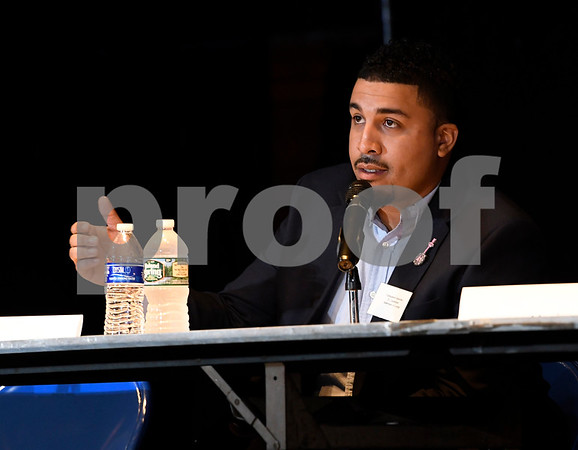 10/14/2017 Mike Orazzi | Staff Alderman for the City of New Britain, Emmanuel Sanchez, during The League of Women Voters debate held at Trinity on Main Saturday afternoon.