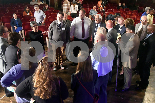 10/14/2017 Mike Orazzi | Staff Moderator Cindy White explains debate rules to New Britain council candidates before the start of The League of Women Voters debate held at Trinity on Main Saturday afternoon.