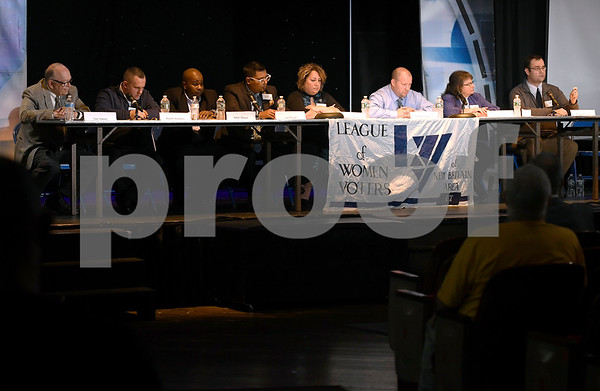 10/14/2017 Mike Orazzi | Staff New Britain council candidates during The League of Women Voters debate held at Trinity on Main Saturday afternoon.