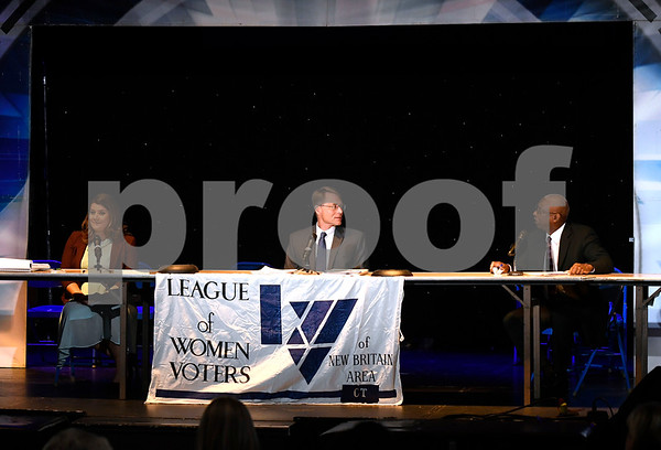 10/14/2017 Mike Orazzi | Staff New Britain Mayoral candidate, Erin Stewart, Merrill Gay, and Al Mayo during The League of Women Voters debate held at Trinity on Main Saturday afternoon.