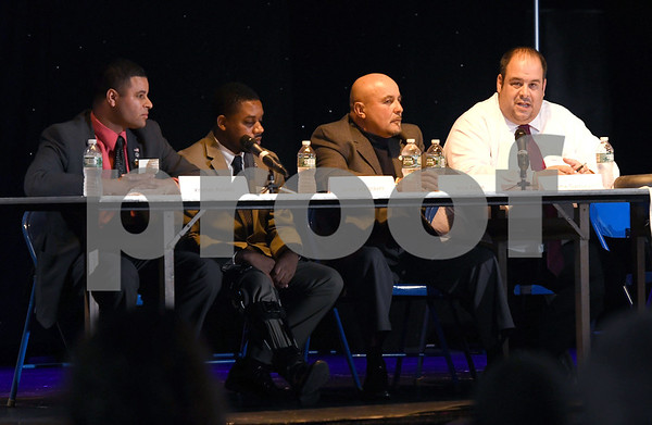 10/14/2017 Mike Orazzi | Staff Council candidates Kristian Rosado, Jerrell Hargraves, Willie Pabon and Jamie Giantonio during The League of Women Voters debate held at Trinity on Main Saturday afternoon.