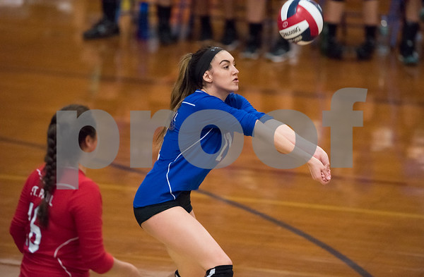 10/16/17 Wesley Bunnell | Staff St. Paul Volleyball vs Oxford at St. Paul High School on Monday evening. Olivia Genovese (11).