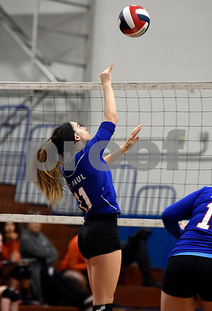10/18/2017 Mike Orazzi | Staff St. Paul's Olivia Genovese (11) during volleyball with Goodwin Tech in Bristol Wednesday.