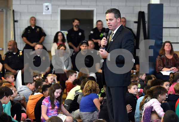 10/19/2017 Mike Orazzi | Staff Greene-HIlls School Principal Scott Gaudet during a Tunnel of Hope assembly Thursday in Bristol.