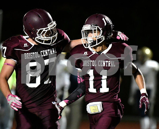 10/20/2017 Mike Orazzi | Staff Bristol Central's Isak Gonzalez (87) and Jose Navedo (11) during Friday night's football game in Bristol.