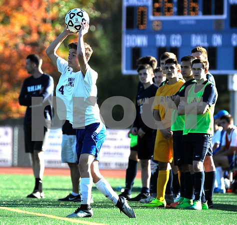 10/20/2017 Mike Orazzi | Staff Bristol Eastern's Gabe Soucy (4) during Friday's soccer with RHAM in Bristol.