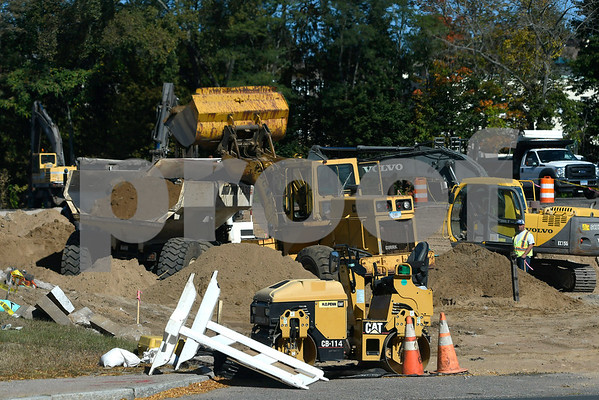 10/20/2017 Mike Orazzi | Staff Road construction in Centre Sqaure in downtown Bristol Friday.