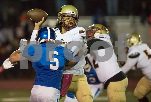 10/20/17 Wesley Bunnell | Staff New Britain vs Southington football on Friday evening at Southington High School. Jahfari Newman (2).