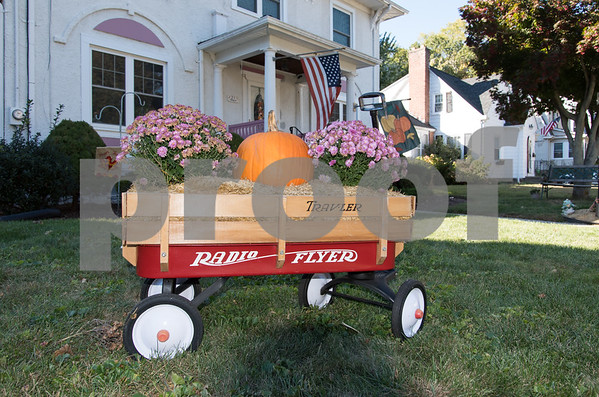 10/20/17 Wesley Bunnell | Staff A wagon decorated for the fall season sits outside a home on Harding Street on Friday afternoon.