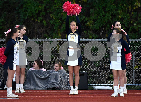 10/20/2017 Mike Orazzi | Staff Newington High School cheerleaders during Friday night's football game with Bristol Central in Bristol.