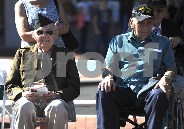 10/21/2017 Mike Orazzi | Staff Korean War veteran Joseph Liudzius and WWII veteran George Goldpuss during a medal ceremony Saturday afternoon for about 150 veterans, who either previously lived in the city, currently live in the city, enlisted in the city or belongs to a veteran organization in the city of New Britain.