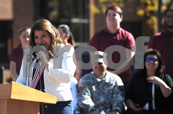 10/21/2017 Mike Orazzi | Staff New Britain Mayor Erin Stewart during a medal ceremony Saturday afternoon for about 150 veterans, who either previously lived in the city, currently live in the city, enlisted in the city or belongs to a veteran organization in the city of New Britain.