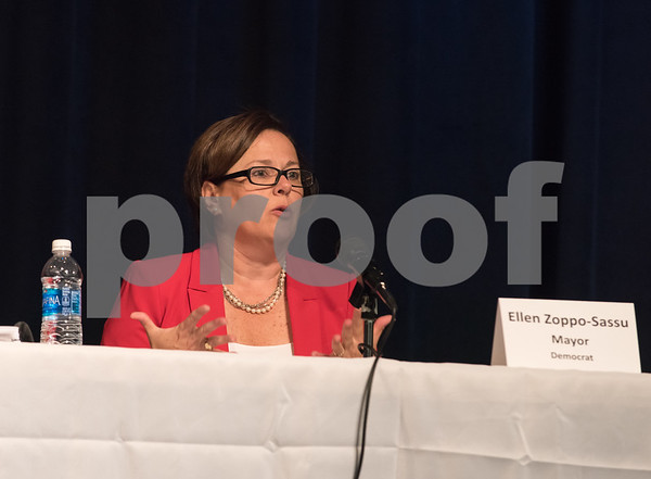 10/23/17 Wesley Bunnell | Staff The Bristol Chamber of Commerce held a Candidates' Forum on Monday evening at St. Paul Catholic High School. Mayoral candidate Ellen Zoppo-Sassu.