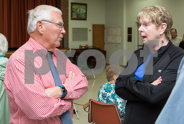 10/24/17 Wesley Bunnell | Staff The Berlin Senior Center hosted a meet and greet for the candidates in this years town elections on Tuesday afternoon with all candidates allowed 3 minutes to introduce themselves. Coffee and light refreshments were served after as the candidates had the chance to speak one on one with those in attendance. Former superintendent of schools and Democratic candidate for mayor Rich Paskiewicz speaks with retired teacher Dorie Wojcik who spoke very highly of his work at superintendent.
