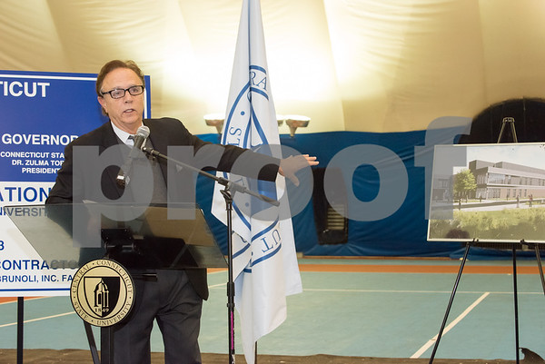 10/25/17 Wesley Bunnell | Staff CCSU held a groundbreaking ceremony for the new recreation center which will replace the Kaiser Annex bubble. Pasquale J. Salemi Deputy Commissioner of DAS.