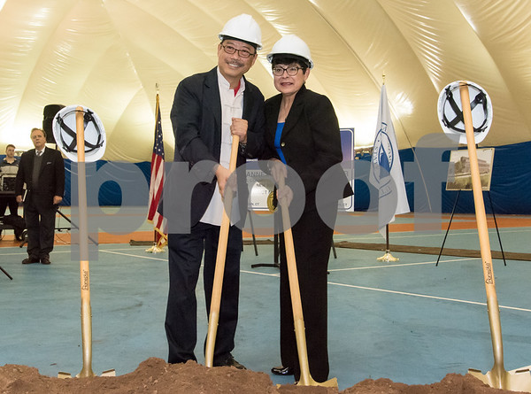 10/25/17 Wesley Bunnell | Staff CCSU held a groundbreaking ceremony for the new recreation center which will replace the Kaiser Annex bubble. Paul Huang son of the late Huang Change-Jen a benefactor of the university who the new recreation center is expected to be named stands with CCSU President Dr. Zulma Toro