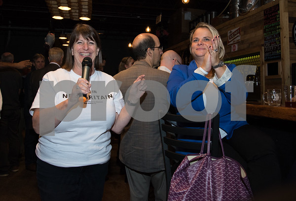 10/25/17 Wesley Bunnell | Staff The New Britain Industrial Museum held a bier fest fundraiser at Alvarium Beer Company on Wednesday evening. Museum Director Karen Hudkins addresses the crowd as she stands next to Dorothy Weber.