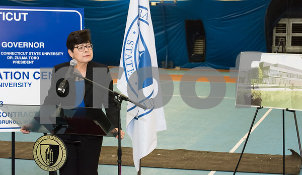 10/25/17 Wesley Bunnell | Staff CCSU held a groundbreaking ceremony for the new recreation center which will replace the Kaiser Annex bubble. CCSU President Dr. Zulma Toro.