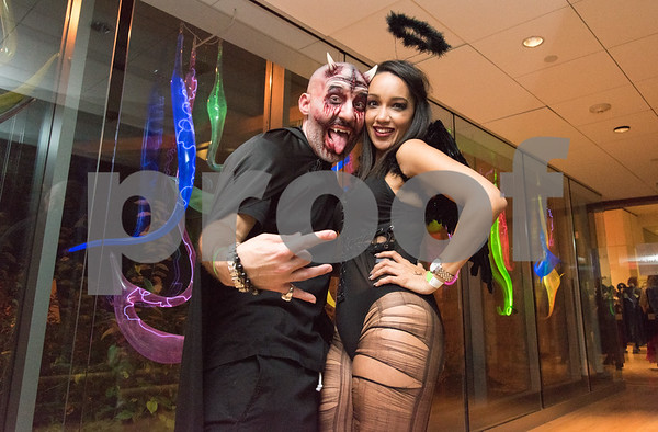 10/27/17 Wesley Bunnell | Staff The New Britain Museum of American Art held their Museum After Dark 11th Annual Halloween Bash on Friday evening. Darren Garofolo and Katrina Ortiz.