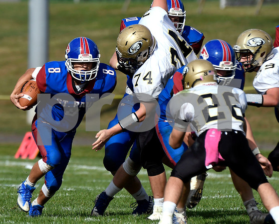 10/28/2017 Mike Orazzi | Staff St. Paul's Ryan Prendergast (8) during Saturday's football game with Woodland.