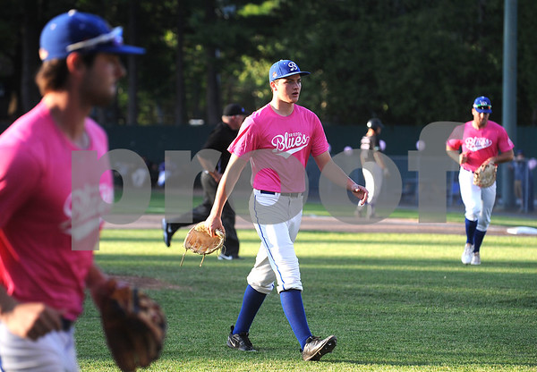 6/23/2017 Mike Orazzi | Staff Bristol Blues' Malachi Edmond (8) during the Bristol Hospital Pink Night at Muzzy Field.