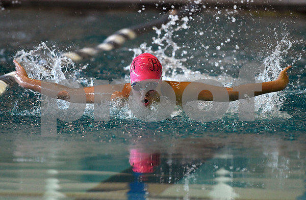 10/3/2017 Mike Orazzi | Staff Bristol Eastern's Kay­lin Koh during Tuesday's swim meet with Plainville.