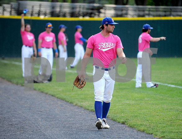 6/23/2017 Mike Orazzi | Staff Bristol Blues' Cooper Mrowka (26) during the Bristol Hospital Pink Night at Muzzy Field.